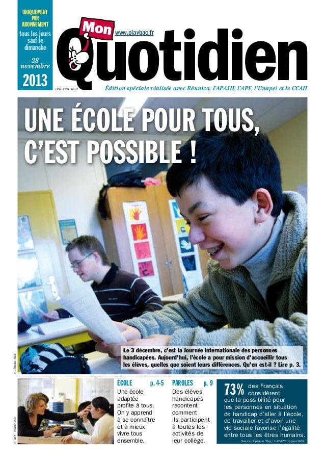 uniquement par abonnement  www.playbac.fr  tous les jours sauf le dimanche 28 novembre  2013  ISSN 1258 - 6447  Édition sp...
