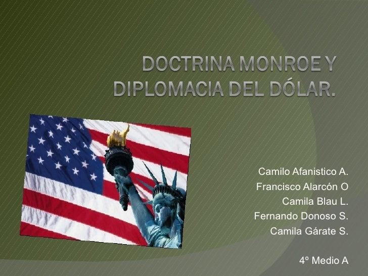 Camilo Afanistico A. Francisco Alarcón O Camila Blau L. Fernando Donoso S. Camila Gárate S. 4º Medio A