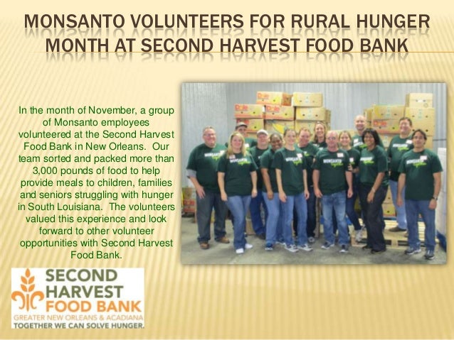 MONSANTO VOLUNTEERS FOR RURAL HUNGER MONTH AT SECOND HARVEST FOOD BANK  In the month of November, a group of Monsanto empl...