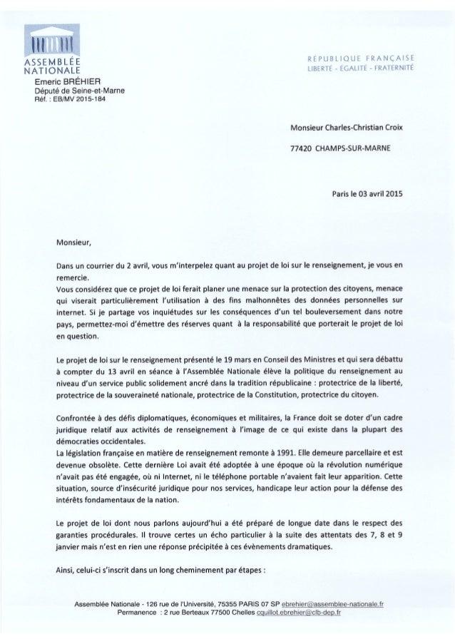 7 avril 2015 : Emeric Bréhier député PS de la 10e circonscription de Seine-et-Marne soutiens le #PJLRenseignement