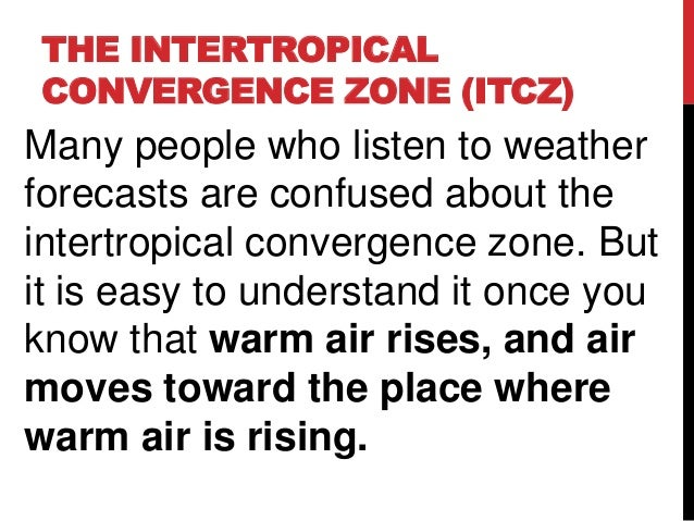 THE INTERTROPICALCONVERGENCE ZONE (ITCZ)Many people who listen to weatherforecasts are confused about theintertropical con...