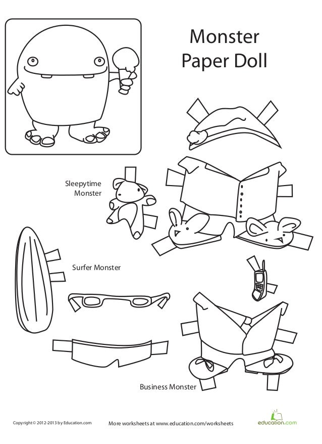 Monster paper-doll-printable