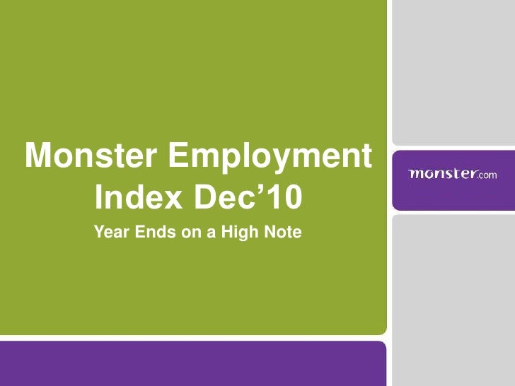 Year Ends on a High Note<br />Monster Employment Index Dec'10<br />