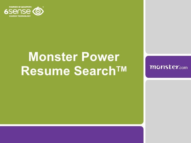 Monster Power Resume Search TM ...  Monster Resume Builder
