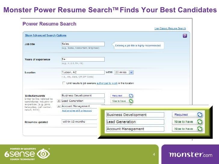 Monster resume views