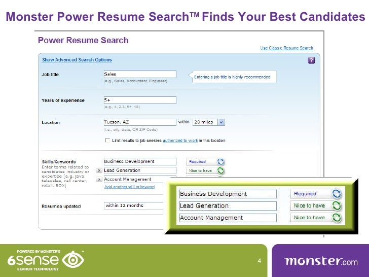 monster com power resume search