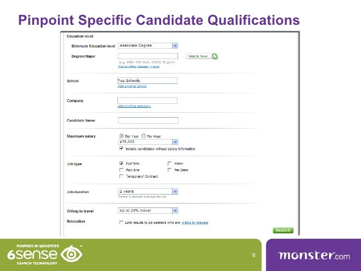 Exceptional Pinpoint Specific Candidate Qualifications ... Intended For Monster Search Resumes