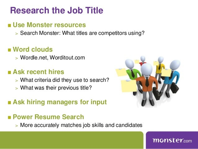 examples of resume titles on monster