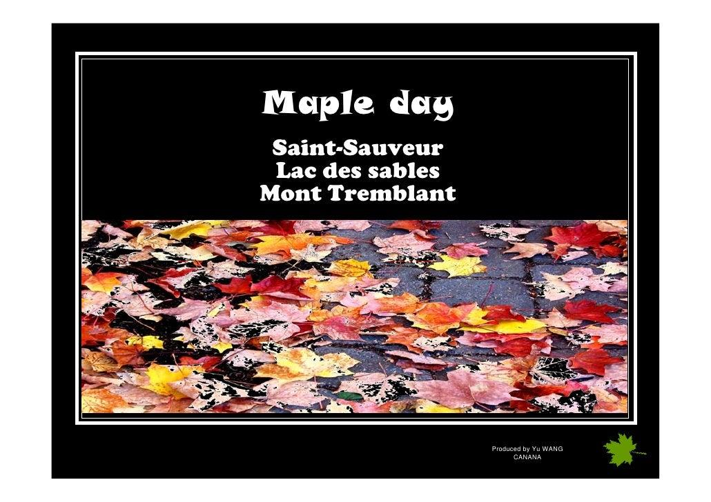 Maple day  Saint-Sauveur  Lac des sables Mont Tremblant                       Produced by Yu WANG                         ...