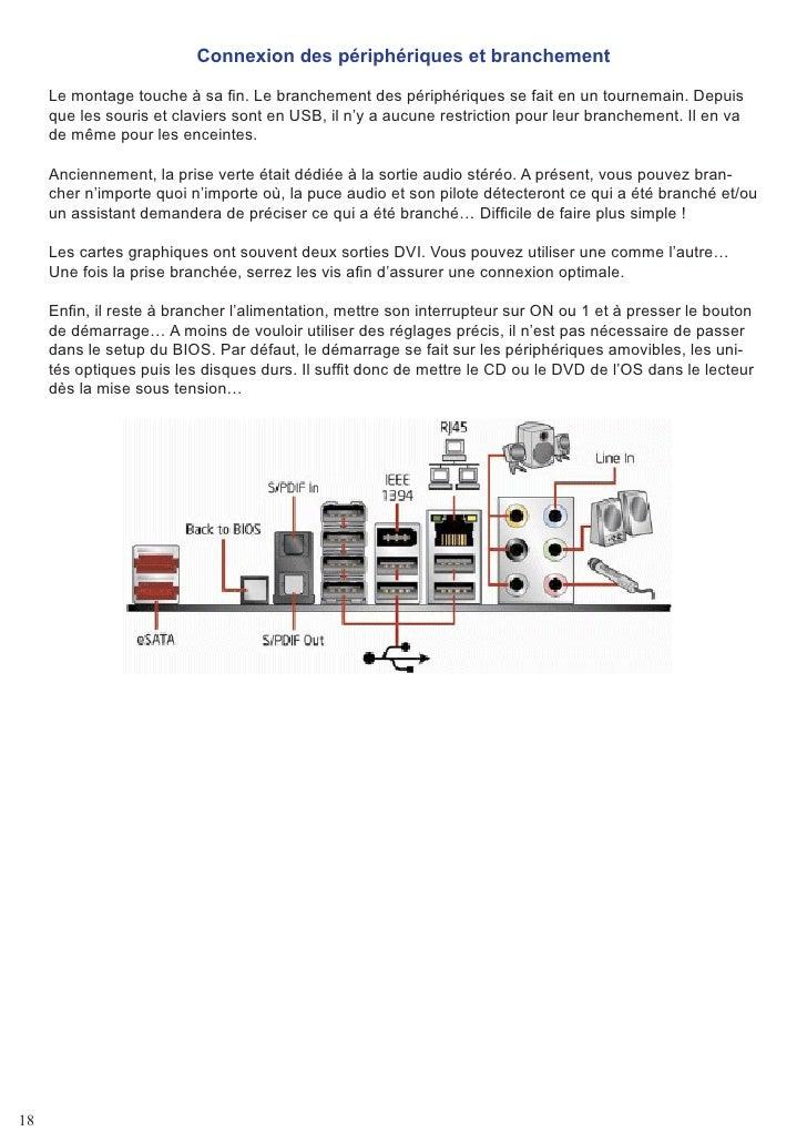 Connexion des périphériques et branchement       Le montage touche à sa fin. Le branchement des périphériques se fait en u...