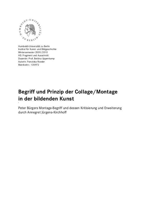 Humboldt-Universität zu BerlinInstitut für Kunst- und BildgeschichteWintersemester 2009/2010HS: Fragment und AusschnittDoz...