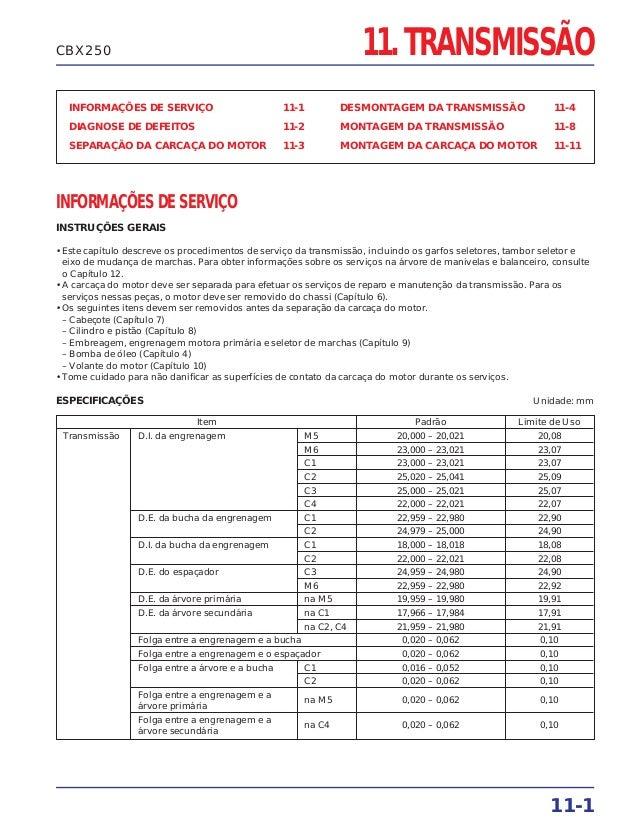 CBX250                                                              11. TRANSMISSÃO  INFORMAÇÕES DE SERVIÇO               ...