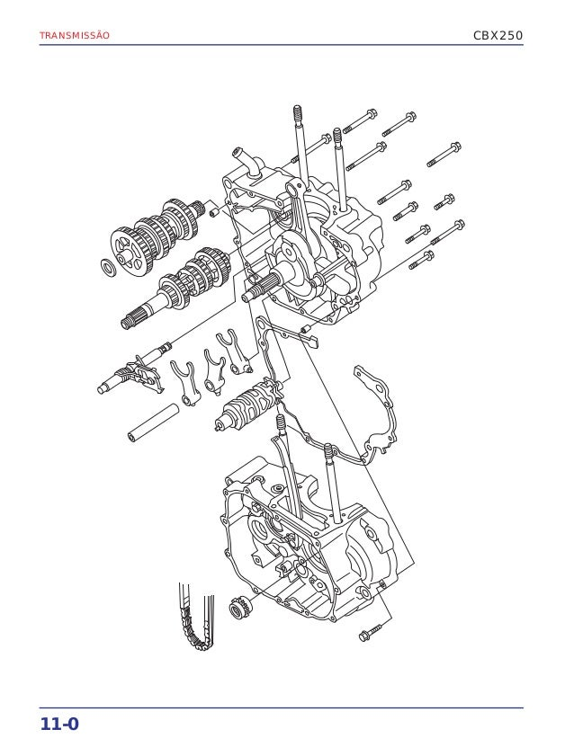 Montagem transmissao cbx 250 twister