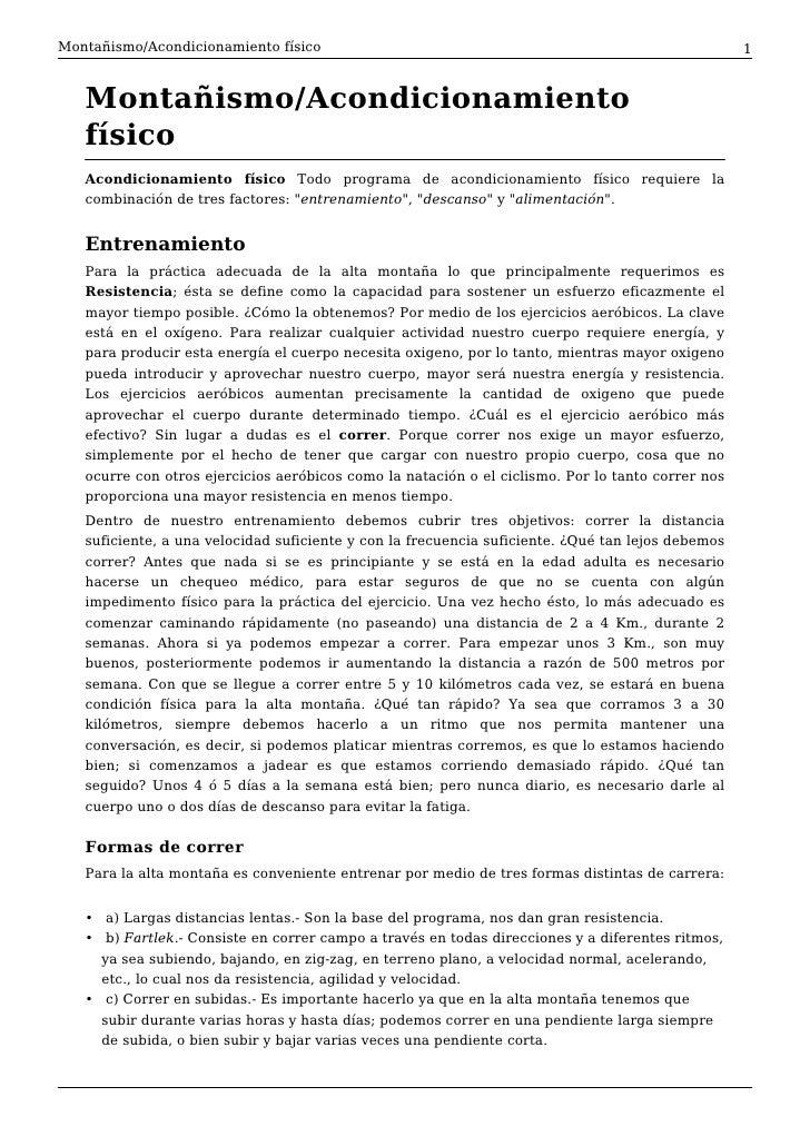 Montañismo/Acondicionamiento físico                                                                1      Montañismo/Acond...