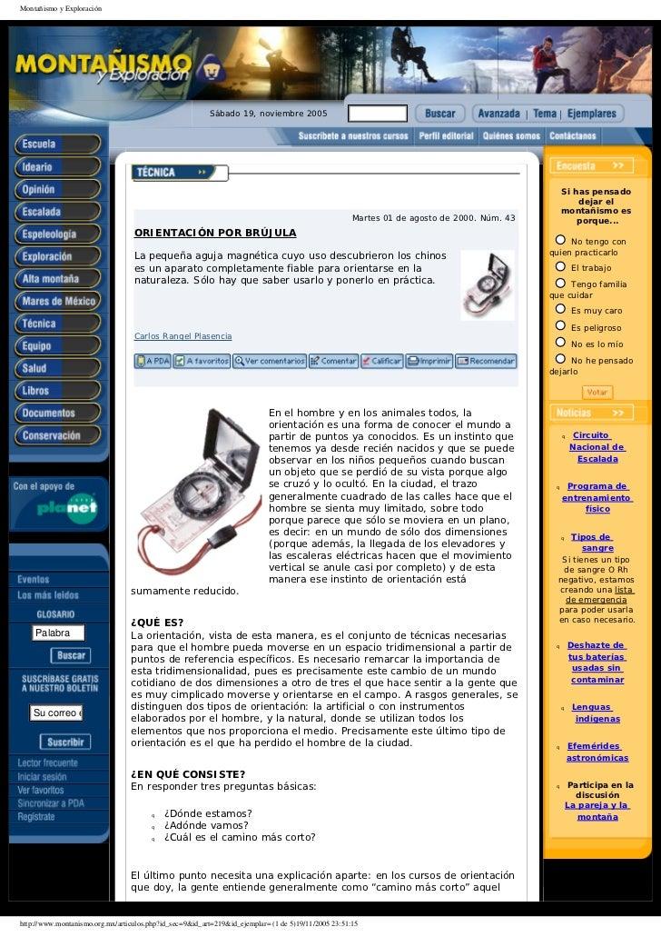 Montañismo y Exploración                                                         Sábado 19, noviembre 2005                ...