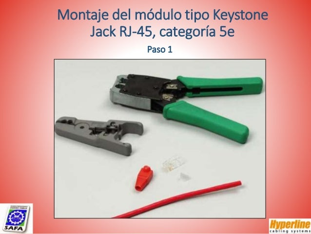Montaje del módulo tipo Keystone Jack RJ-45, categoría 5e Paso 1