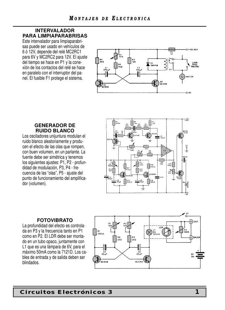 MONTAJES      DE   ELECTRONICA          INTERVALADOR PARA LIMPIAPARABRISAS Este intervalador para limpiaparabri- sas puede...