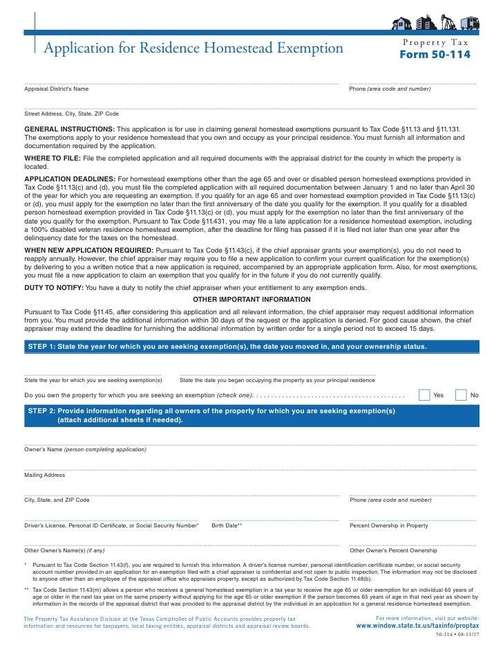 P r o p e r t y Ta x         Application for Residence Homestead Exemption                                                ...