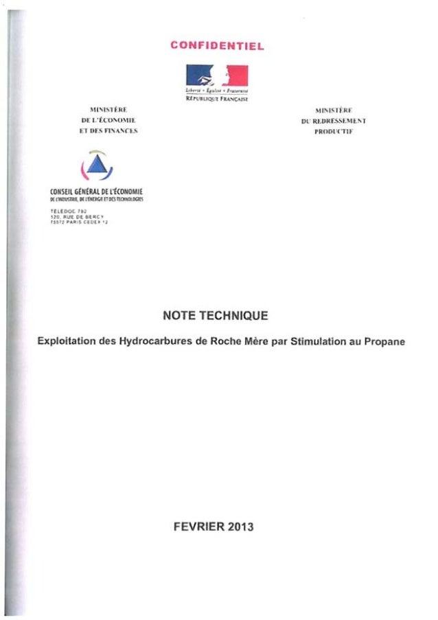Note technique Exploitation des hydrocarbures de roche mere par stimulation au propane