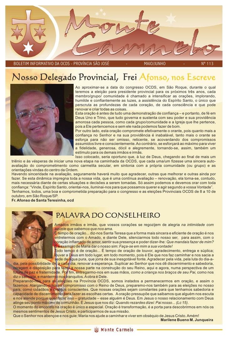 BOLETIM INFORMATIVO DA OCDS - PROVÍNCIA SÃO JOSÉ                  -          MAIO/JUNHO             -          Nº 113   No...