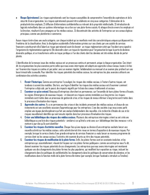Risque Opérationnel. Les risques opérationnels sont les risques susceptibles de compromettre lensemble des opérations et d...