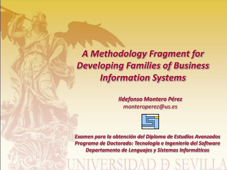A Methodology Fragment for Developing Families of Business      Information Systems                   Ildefonso Montero Pé...