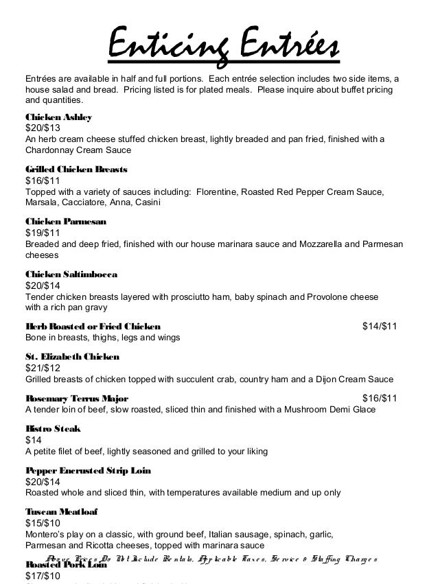 Montero 39 s restaurant corporate menu 2013 2014 for List of entree dishes