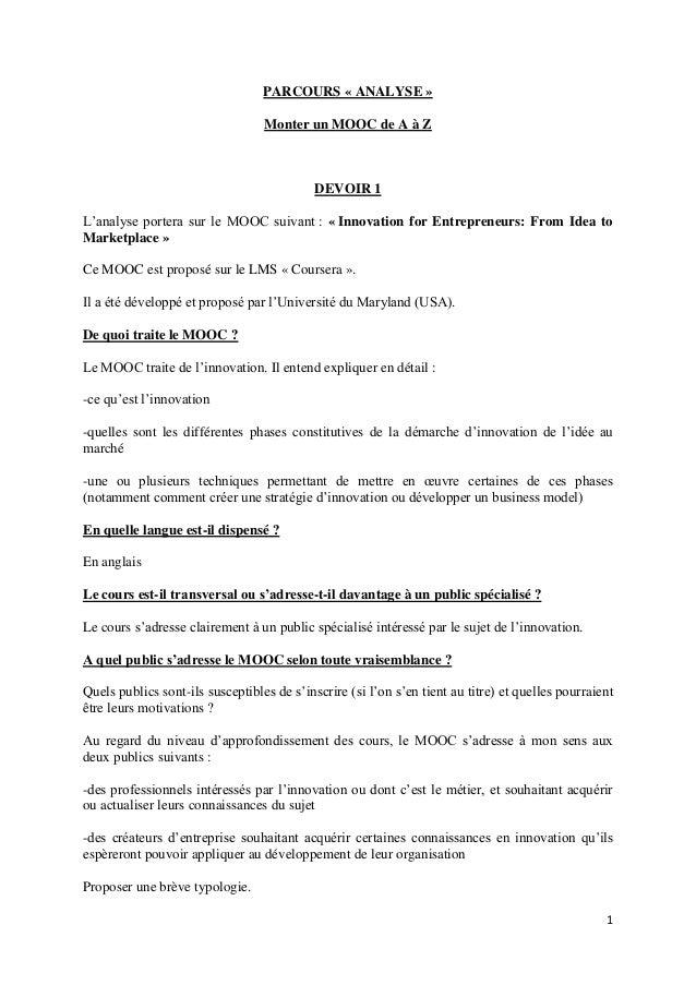 1 PARCOURS « ANALYSE » Monter un MOOC de A à Z DEVOIR 1 L'analyse portera sur le MOOC suivant : « Innovation for Entrepren...