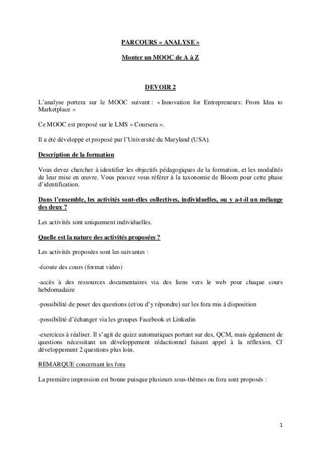 1 PARCOURS « ANALYSE » Monter un MOOC de A à Z DEVOIR 2 L'analyse portera sur le MOOC suivant : « Innovation for Entrepren...