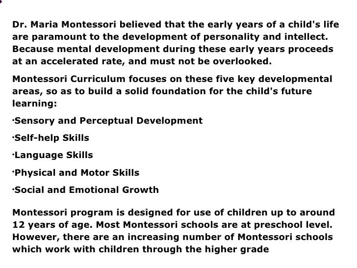 Maria montessori theory summary
