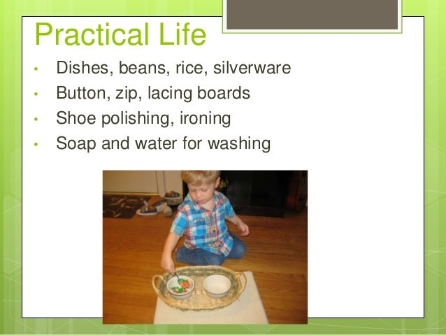 Practical Life • • • •  Dishes, beans, rice, silverware Button, zip, lacing boards Shoe polishing, ironing Soap and water ...