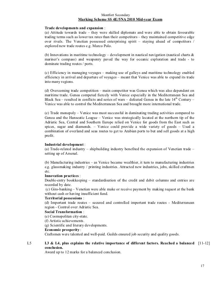 Montfort Secondary                          Marking Scheme SS 4E/5NA 2010 Mid-year Exam     Trade developments and expansi...