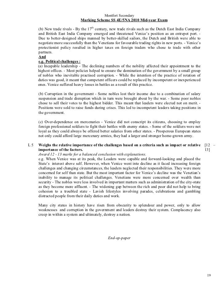 Montfort Secondary                               Marking Scheme SS 4E/5NA 2010 Mid-year Exam     (b) New trade rivals - By...