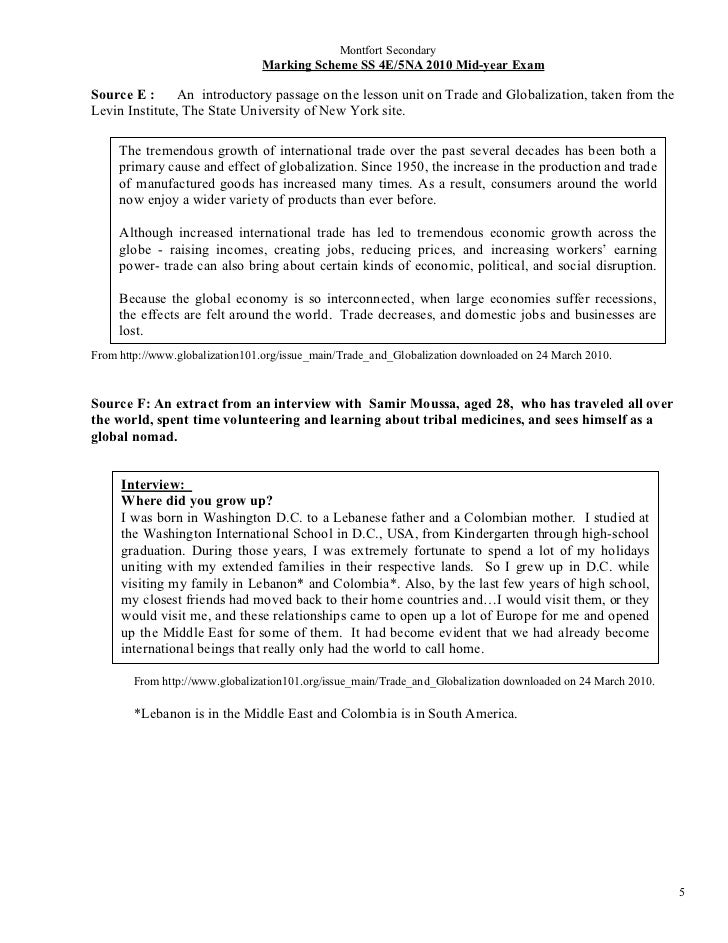 Montfort Secondary                                Marking Scheme SS 4E/5NA 2010 Mid-year ExamSource E :      An introducto...