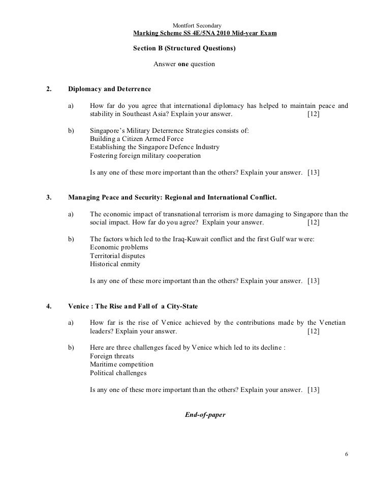 Montfort Secondary                           Marking Scheme SS 4E/5NA 2010 Mid-year Exam                           Section...