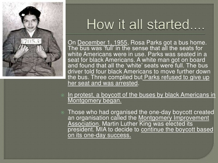rosa parks bus boycott Sixty years ago, rosa parks refused to give up her seat on a bus in  before she  became the famous catalyst for the montgomery bus boycott.
