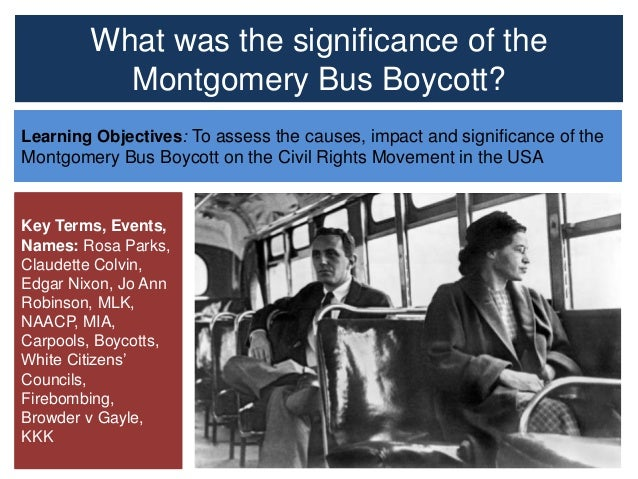 the peak of the civil rights movement and the montgomery bus boycott Fifty years ago today, a bus boycott began in montgomery, alabama  social  protest became a pivotal event in the civil rights movement, and it.