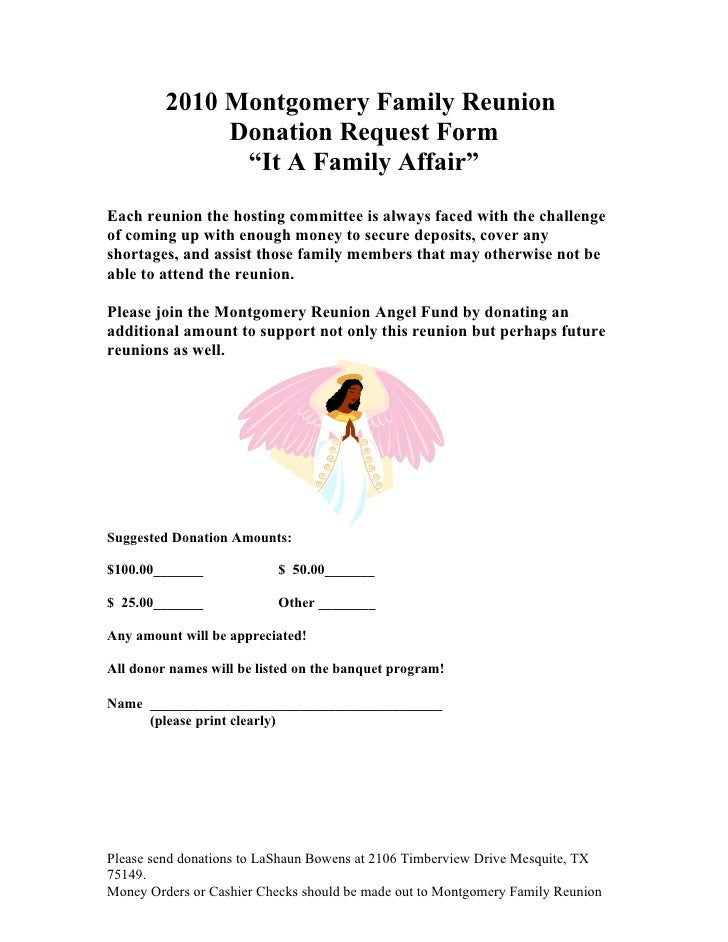 Montgomery Family Donation Request Form 2010 – Donation Request Form