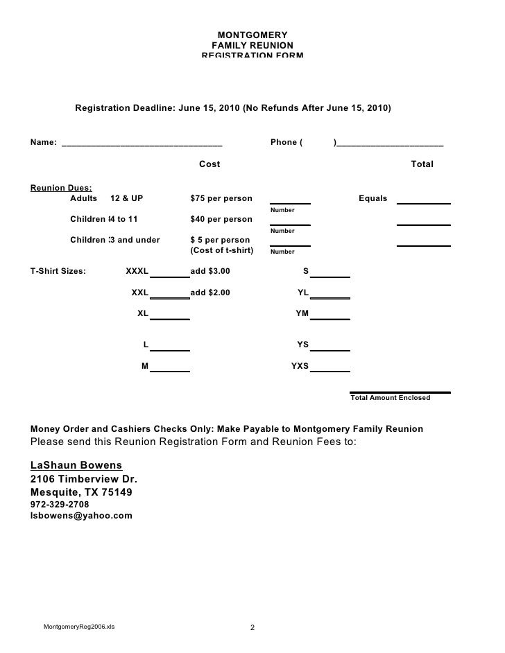 Montgomery Family Registration Form 2010