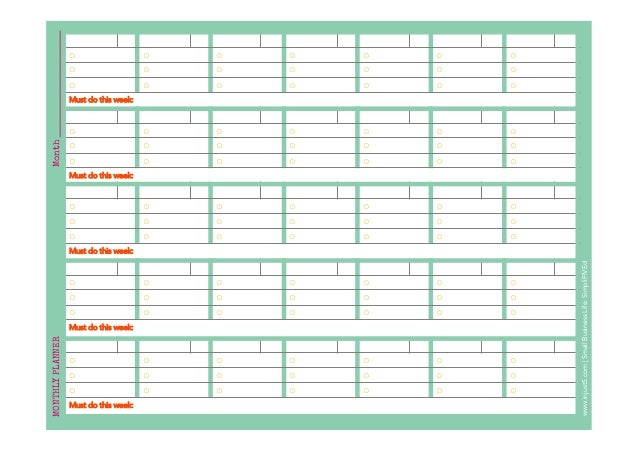 Monthly And Weekly Planner Template For Small Business