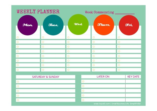monthly weekly planner template