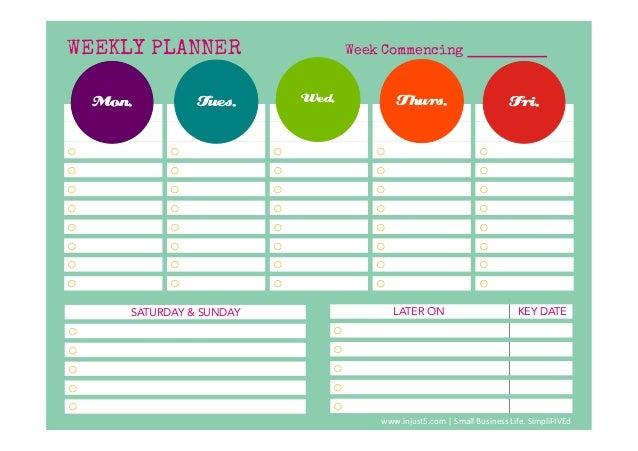 template weekly planner