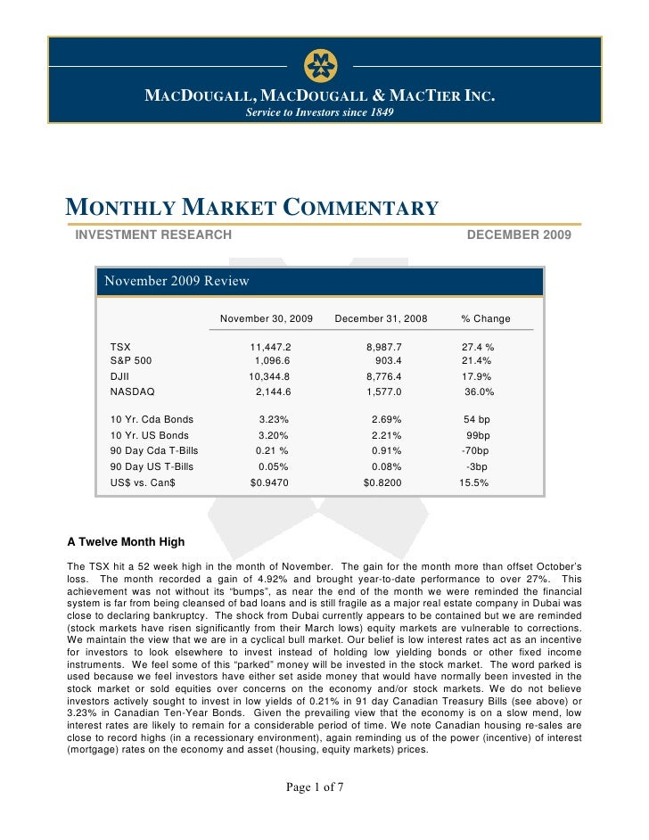 Monthly Market Commentary                                                                     December 7, 2009            ...