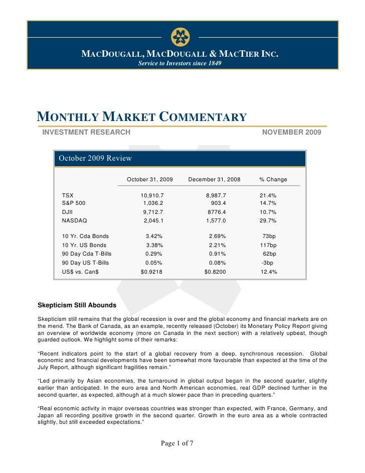 Monthly Market Commentary                                                                November 10, 2009                ...