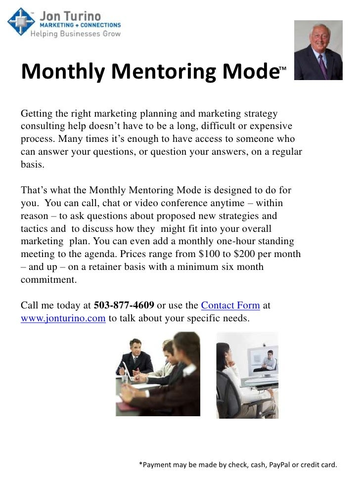 Monthly Mentoring Mode™Getting the right marketing planning and marketing strategyconsulting help doesn't have to be a lon...
