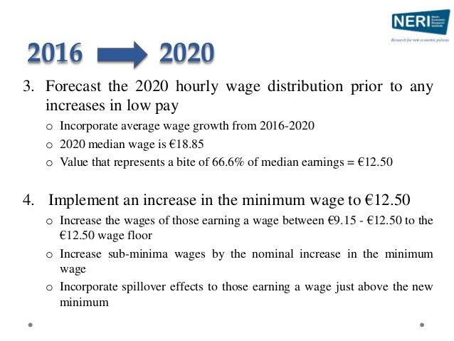 2016 2020 3. Forecast the 2020 hourly wage distribution prior to any increases in low pay o Incorporate average wage growt...