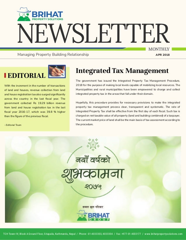 NEWSLETTER BRIHATPROPERTY SOLUTIONS MONTHLY Managing Property Building Relationship APR 2018 Integrated Tax Management The...