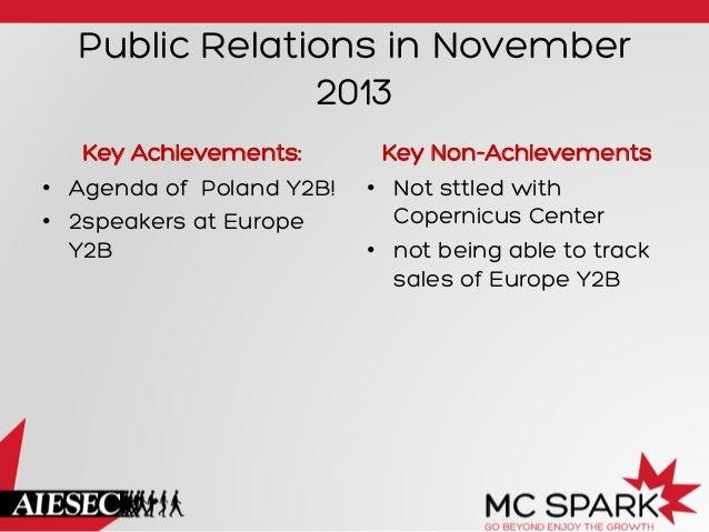 Public Relations in November 2013 Key Achievements: • Agenda of Poland Y2B! • 2speakers at Europe Y2B  Key Non-Achieveme...