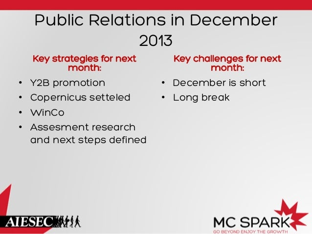 Public Relations in December 2013 Key strategies for next month:  • • • •  Y2B promotion Copernicus setteled WinCo Ass...