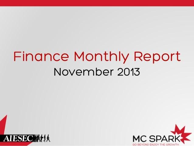 Finance Monthly Report November 2013